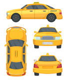 Different views of taxi yellow car. Automobile isolated on white, vector illustrations Royalty Free Stock Image