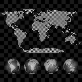 Different views of transparent vector globe with map Stock Photos