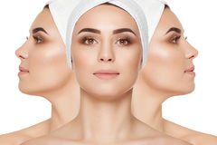 Different views of woman with cared face and neck skin. Royalty Free Stock Photos