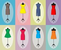 Different vintage dresses on a mannequin. Vector Royalty Free Stock Image