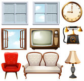 Different vintage furnitures on white Royalty Free Stock Photo