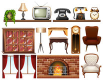 Different vintage objects on white background Royalty Free Stock Photos
