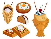 Different wafer cookies waffle cakes pastry cookie biscuit delicious snack cream dessert crispy bakery food vector. Different wafer cookies waffle cakes and Stock Photography