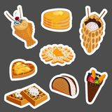 Different wafer cookies waffle cakes pastry cookie biscuit delicious snack cream dessert crispy bakery food vector. Different wafer cookies waffle cakes and Royalty Free Stock Photo