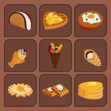 Different wafer cookies waffle cakes pastry cookie biscuit delicious snack cream dessert crispy bakery food vector stock illustration