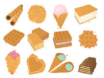 Different wafer cookies waffle cakes pastry cookie biscuit delicious snack cream dessert crispy bakery food vector. Different wafer cookies waffle cakes and Stock Photo