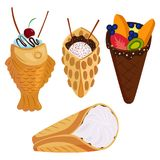Different wafer cookies waffle cakes pastry cookie biscuit delicious snack cream dessert crispy bakery food vector. Different wafer cookies waffle cakes and Stock Photos