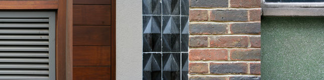 Different walls. Different close-up urban wall details pasted together royalty free stock image