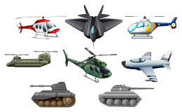 Different war transportations vector illustration