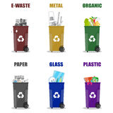 Different waste recycling categories. Garbage bins  Royalty Free Stock Photo
