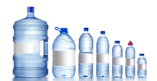 Different water bottles isolated on white, Royalty Free Stock Photos