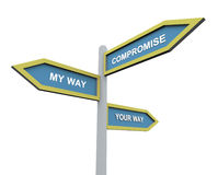 Different way or compromise. 3d road sign of text 'my wayr', 'your way' and 'compromise Stock Image