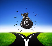 Different way for euro money finance Royalty Free Stock Photo