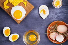 Different ways of cooking eggs: scrambled, omelette, boiled, raw and poached Stock Photo