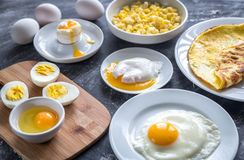 Different ways of cooking eggs. Top view Stock Image