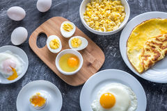 Different ways of cooking eggs Stock Image