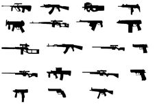 Different weapons. Collection silhouette - vector Stock Photos