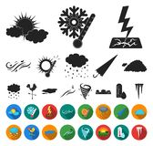 Different weather black,flat icons in set collection for design.Signs and characteristics of the weather vector symbol. Stock illustration stock illustration