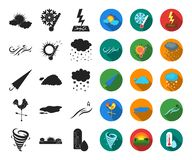 Different weather black,flat icons in set collection for design.Signs and characteristics of the weather vector symbol. Stock illustration royalty free illustration