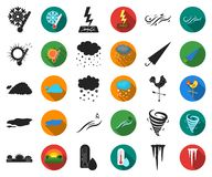 Different weather black,flat icons in set collection for design.Signs and characteristics of the weather vector symbol. Stock illustration vector illustration