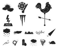 Different weather black icons in set collection for design.Signs and characteristics of the weather vector symbol stock. Illustration stock illustration
