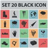 Different weather black icons in set collection for design.Signs and characteristics of the weather vector symbol stock. Illustration Royalty Free Stock Photo