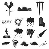 Different weather black icons in set collection for design.Signs and characteristics of the weather vector symbol stock Stock Photos