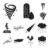 Different weather black icons in set collection for design.Signs and characteristics of the weather vector symbol stock Stock Photo