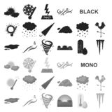 Different weather black icons in set collection for design.Signs and characteristics of the weather vector symbol stock stock illustration