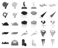 Different weather black,monochrome icons in set collection for design.Signs and characteristics of the weather vector. Symbol stock illustration royalty free illustration