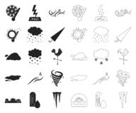 Different weather black,outline icons in set collection for design.Signs and characteristics of the weather vector. Symbol stock  illustration vector illustration