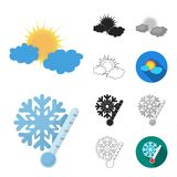 Different weather cartoon,black,flat,monochrome,outline icons in set collection for design.Signs and characteristics of. The weather vector symbol stock Stock Image