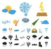 Different weather cartoon, black icons in set collection for design.Signs and characteristics of the weather vector. Symbol stock illustration vector illustration