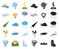 Different weather cartoon,black icons in set collection for design.Signs and characteristics of the weather vector. Symbol stock illustration vector illustration