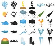 Different weather cartoon,black icons in set collection for design.Signs and characteristics of the weather vector. Symbol stock illustration stock illustration