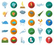 Different weather cartoon,flat icons in set collection for design.Signs and characteristics of the weather vector symbol. Stock illustration royalty free illustration