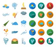 Different weather cartoon,flat icons in set collection for design.Signs and characteristics of the weather vector symbol. Stock illustration vector illustration