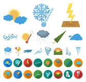 Different weather cartoon,flat icons in set collection for design.Signs and characteristics of the weather vector symbol. Stock illustration stock illustration