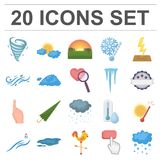 Different weather cartoon icons in set collection for design.Signs and characteristics of the weather vector symbol. Stock  illustration Stock Photos