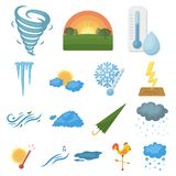 Different weather cartoon icons in set collection for design.Signs and characteristics of the weather vector symbol. Stock  illustration Royalty Free Stock Images