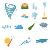 Different weather cartoon icons in set collection for design.Signs and characteristics of the weather vector symbol. Stock  illustration Royalty Free Stock Image