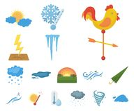 Different weather cartoon icons in set collection for design.Signs and characteristics of the weather vector symbol. Stock illustration royalty free illustration