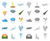 Different weather cartoon,mono icons in set collection for design.Signs and characteristics of the weather vector symbol. Stock  illustration vector illustration