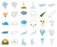 Different weather cartoon,outline icons in set collection for design.Signs and characteristics of the weather vector. Symbol stock illustration stock illustration