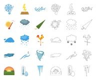Different weather cartoon,outline icons in set collection for design.Signs and characteristics of the weather vector. Symbol stock  illustration royalty free illustration