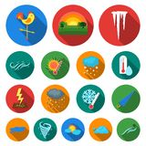 Different weather flat icons in set collection for design.Signs and characteristics of the weather vector symbol stock. Illustration Stock Photography