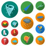 Different weather flat icons in set collection for design.Signs and characteristics of the weather vector symbol stock. Illustration Stock Images