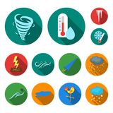 Different weather flat icons in set collection for design.Signs and characteristics of the weather vector symbol stock Royalty Free Stock Photography