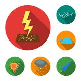 Different weather flat icons in set collection for design.Signs and characteristics of the weather vector symbol stock. Illustration Royalty Free Stock Photo