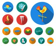 Different weather flat icons in set collection for design.Signs and characteristics of the weather vector symbol stock. Illustration royalty free illustration